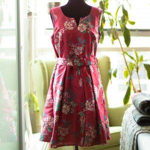 Eshakti | Floral Belted Dress - Magenta, M10